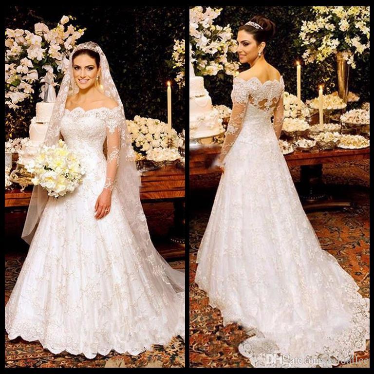 2017 Vestido De Noiva Abiti da sposa Collo a barca Manica lunga 2017 Abiti da sposa Abito da sposa in pizzo Robe De Mariage