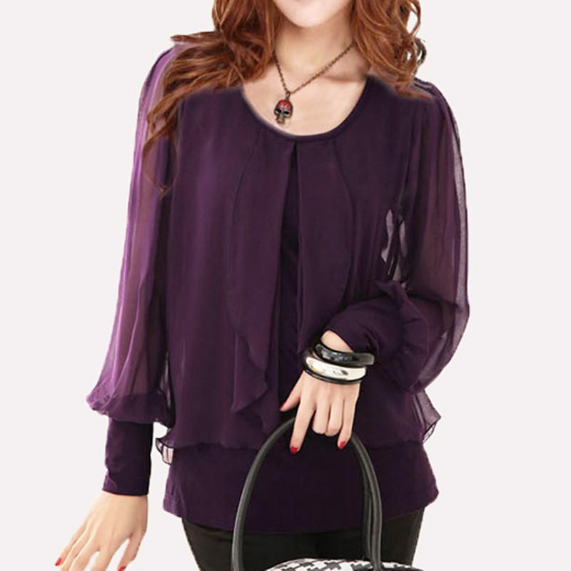 ab97c274c07351 2019 Women Black Shirt Blusas Plus Size Tops Purple Chiffon Shirt Female  Long Sleeve Chiffon Blouses Loose Solid Blusa Feminino C2015 From Marrisha
