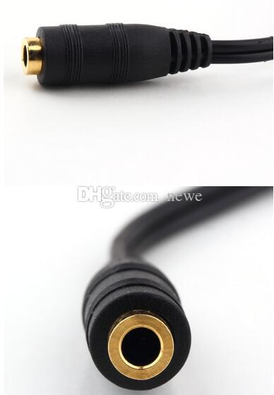 A/V Cables Universal 3.5mm 2 in 1 Earphone Audio Cable Adapter Female To Dual Male Extension Cable Cord Y Splitter For Phone PC MP3 MP4