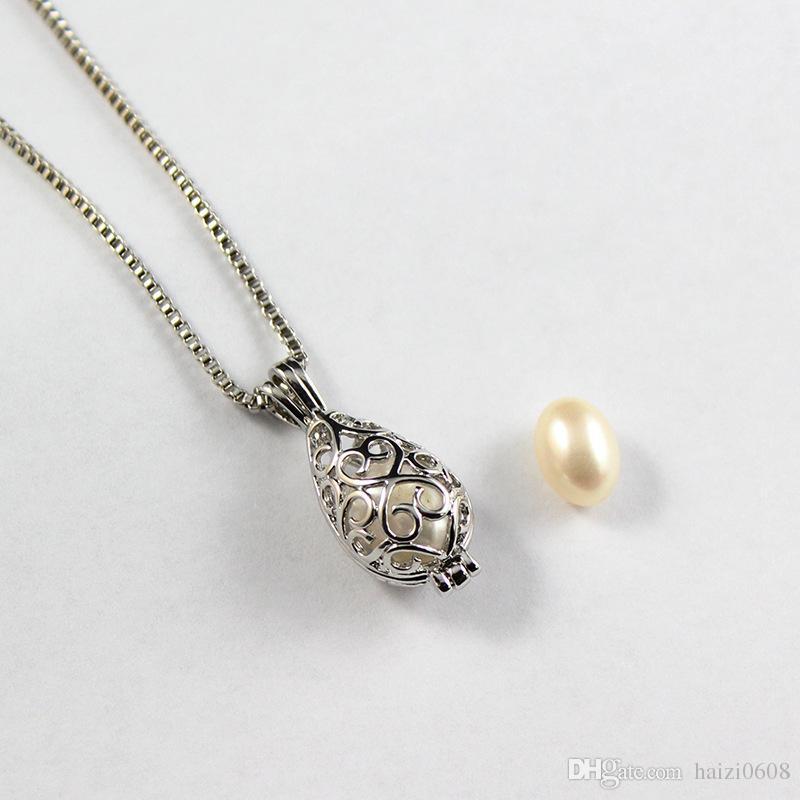 Новые 16 Mix стиль золото серебро любовь желание природных пресноводных жемчужное ожерелье Oyster-устрица кулон с 50 см цепи