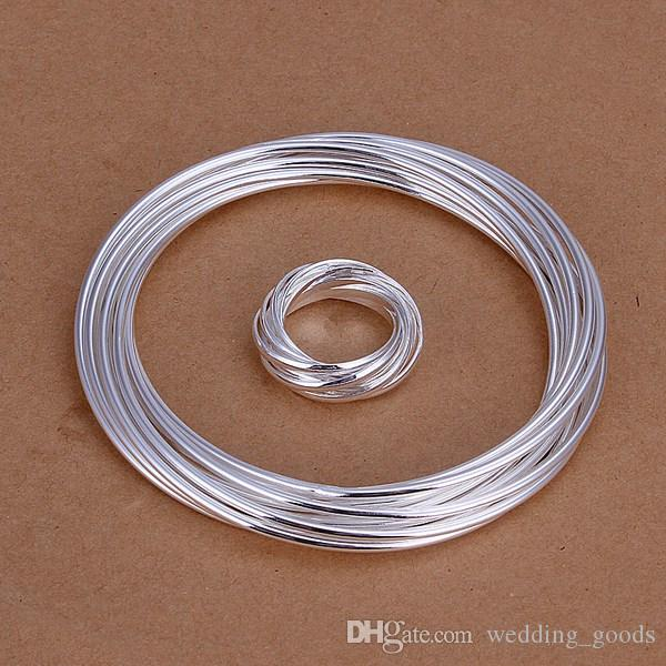 bestes Geschenk Kleines Geflecht versilbert Schmucksets für Frauen WS310, schönes 925er Silber Collier Armband Ohrring Set