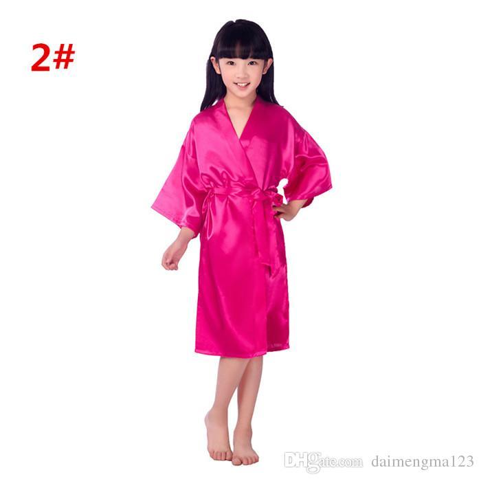 i di moda bambini da notte bambini Solid Silk kimono Party Night Gown Pigiama M025