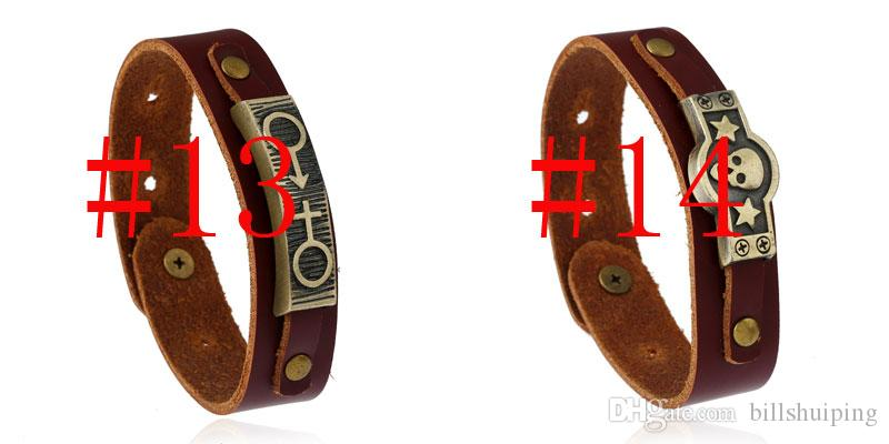 Hot New Punk Rock Jewelry Skull Cross Leather Hip hop style Bracelet Cuff Gothic Hand-made For Men