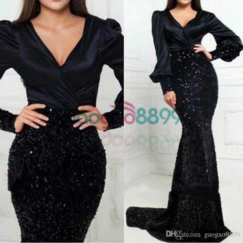 2019 glitzernden Meerjungfrau Sexy Schwarz Abendkleider Mit Langen Ärmeln V-Ausschnitt Samt Perlen Party Abendkleider Arabisch Katar Vestidos