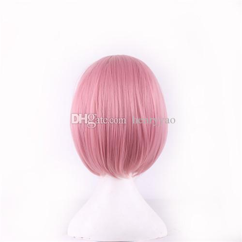 Cartoon Wig Cosplay Hair Pink Wigs Game Animation Cartoon Short Bob Wigs Side Bang Heat Resistant Synthetic Wig