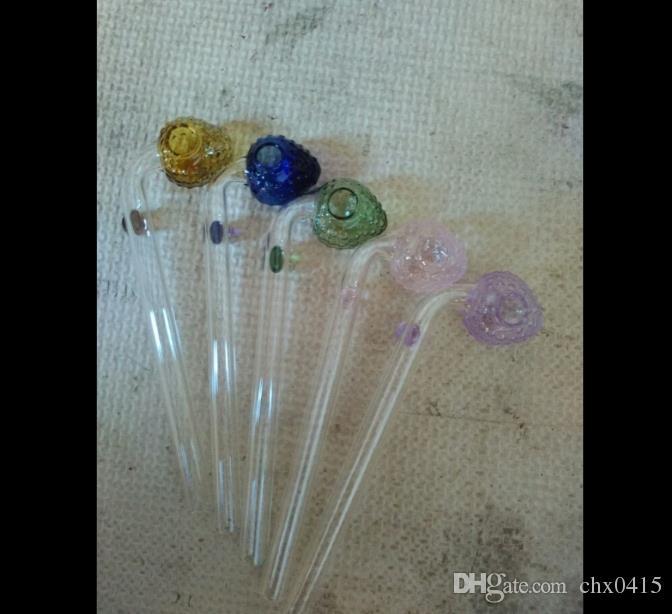 Accessori bong fumo color fragola a gomito, Bruciatore olio Tubi di vetro Tubi acqua Tubo di vetro Impianti olio Fumo con contagocce Bong in vetro Acc