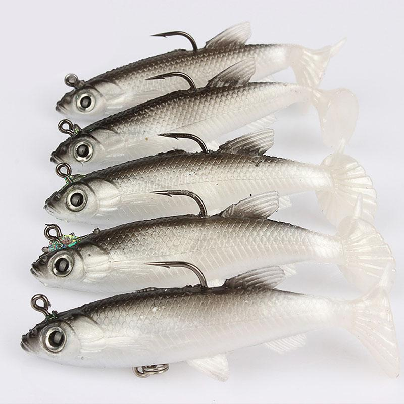 5Pcs 8cm Soft Bait Lead Head Fish Lures Bass Fishing Tackle Sharp Hook New