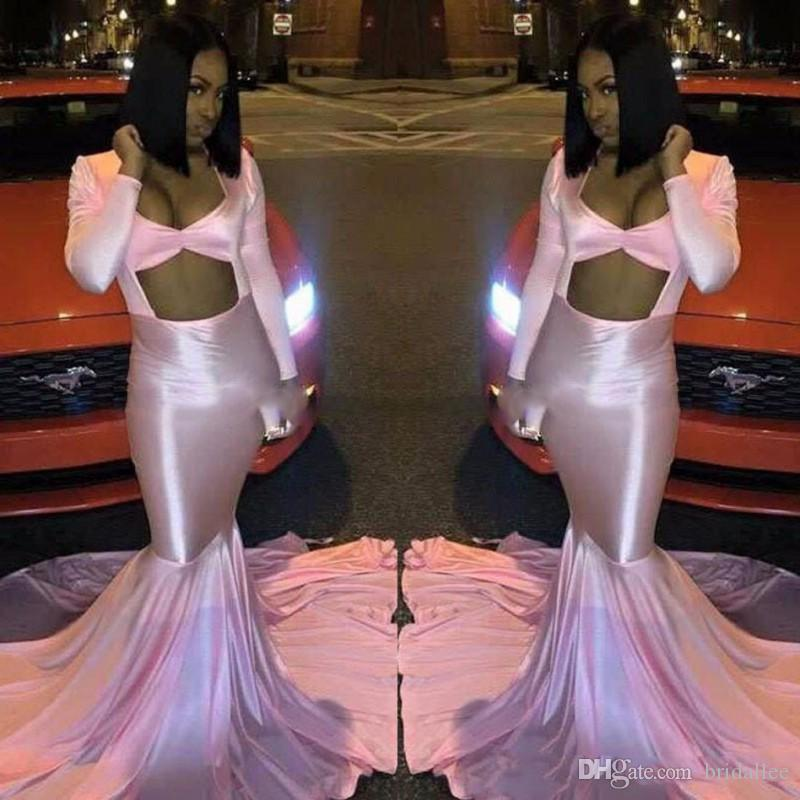 2k17 Pink Mermaid Prom Dresses Sexy aperto anteriore maniche lunghe Sweep Train abiti da sera Black Girl Party Gowns