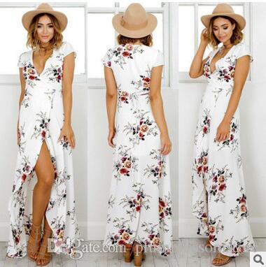 facd981a7c1 Sexy Short Sleeve Deep V Bohemian Beach Maxi Dresses Flora Printed Split Long  Dress Women Summer Seaside Holiday Eleagnt Boho Dress New Summer Floral ...