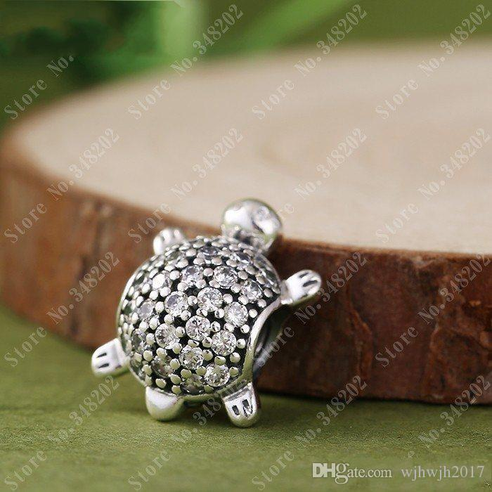 New Sea Turtle Charms Fits Pandora Bracelets Original 925 Sterling Silver Clear CZ Turtle Animal Charm DIY Fine Jewelry Making HB323