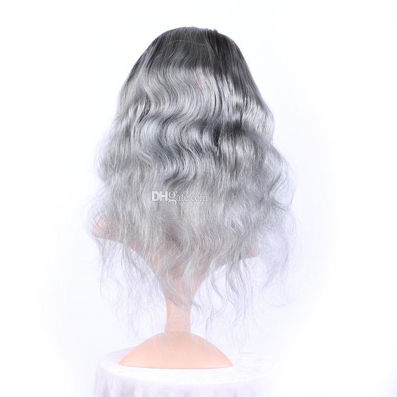 Серебряный серый омбре пре сорвал фронтальное закрытие 360 с соткет 2 тон 1б / серый омбре Малайзийские волосы волны тела 3 пачки с прифронтовым