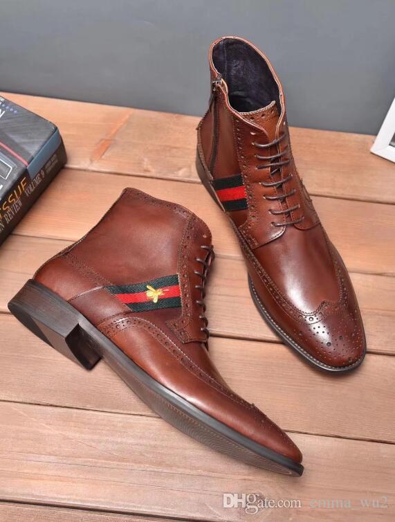 İtalyan Marka 100% Hakiki Deri Martin çizmeler Brogue Erkekler Tasarımcı Moda Çizmeler Erkekler Için Yeni Gelmesi Deri Erkekler Ayak Bileği Çizmeler