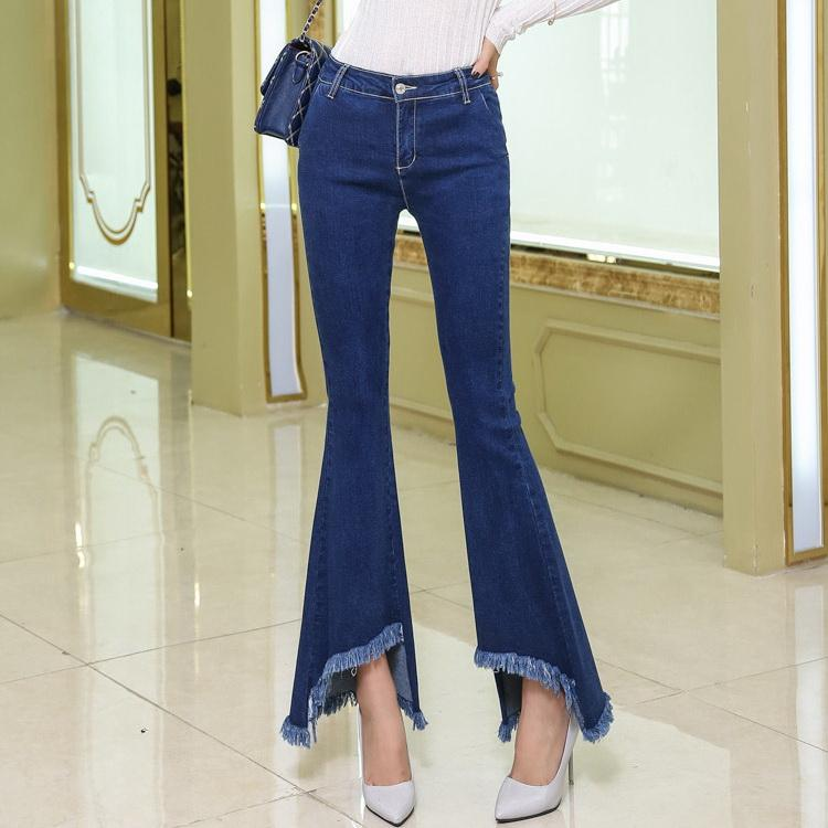 e59188a48b1 2019 Wholesale 2017 New Women Flare Jeans Fashion Tassel Slim Elastic Fit Denim  Female Pencil Stretchy Skinny Pants Bell Bottom Jeans Trousers From Maoku