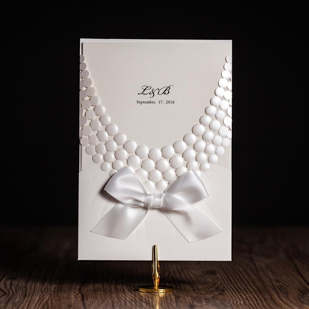 Luxury Elegant Necklace Embossed Laser Cut Wedding Invitations ...