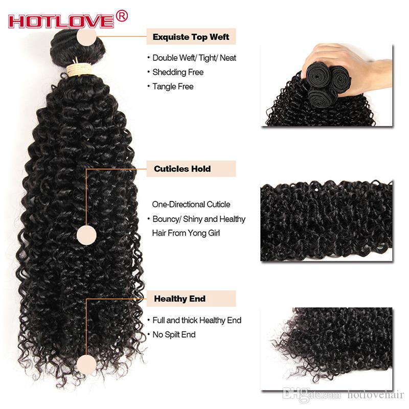 Peruvian afro Kinky Curly Hair Weave 4 Bundles With Closure Top Human Hair Bundles Lace Closure Deals Weft Hotlove Virgin Hair