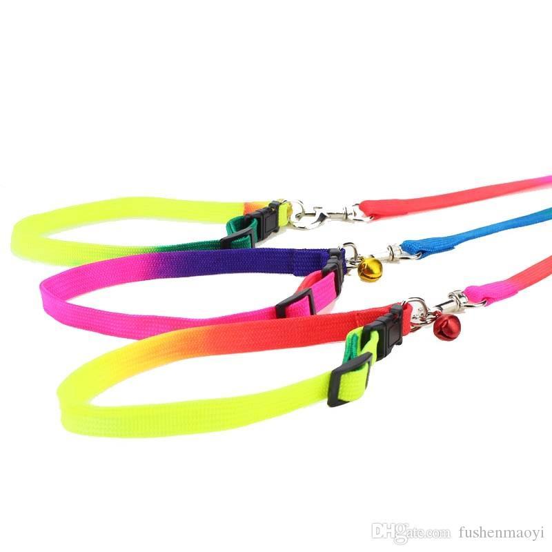 Rainbow Dog Cat Bell Collar e Guinzaglio regolabile All'aperto Comfort Comfort Nylon Collari animali domestici cani da cani piccoli cuccioli Forniture animali domestici