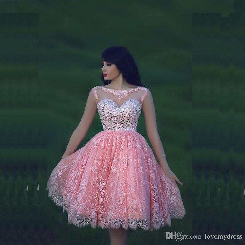 プリンセスボールガウンドレスパーティー背中の赤いクリスタルブリンピングレースピンクのドレス甘い16人の女の子美しい高品質フォーマル着の膝の長さ