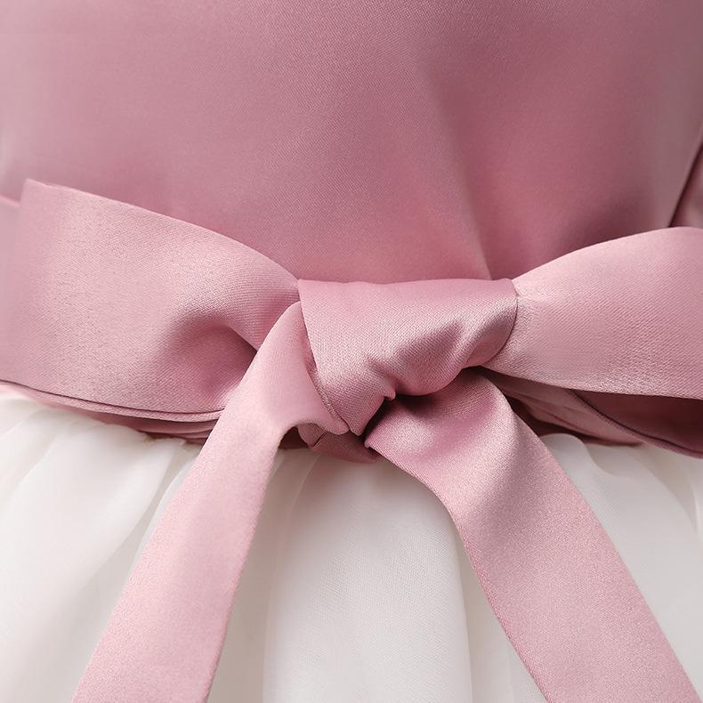 Девочки Цветок Свадебного Pageant Принцесса Bowknot причастие платье партия Крестины Крещение платье Sequined Формальные пачки платье Рождество