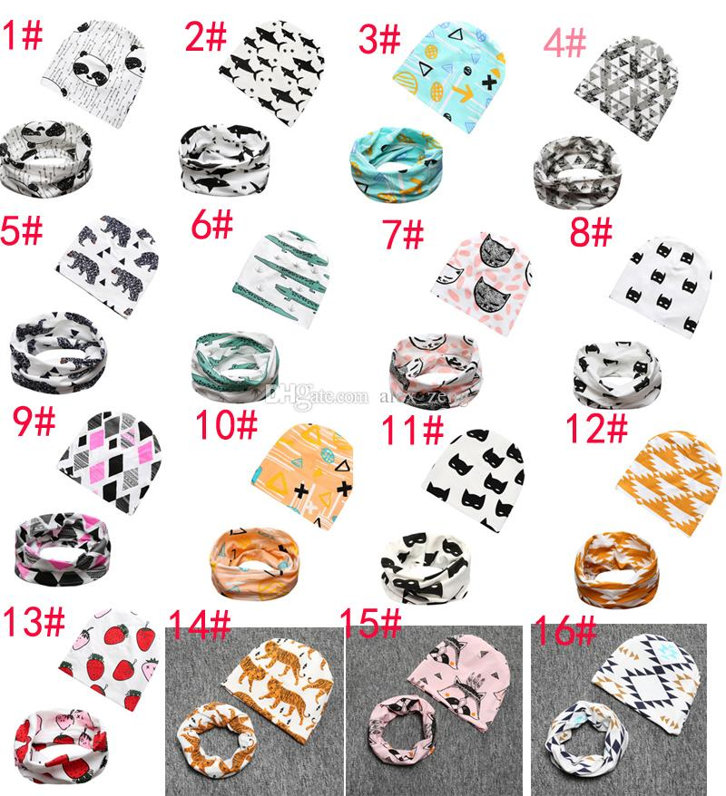 20 Styles INS Baby Printing hat+O Ring Neckerchief Set Fashion Baby Cotton Fox Crocodile Bear Tiger Printing Cap and Scarf A01