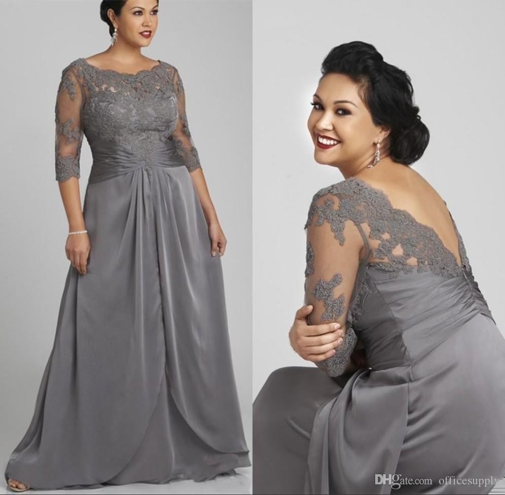 Plus Size Mother Bride Dresses: 2018 Plus Size Gray Mother Of The Bride Groom Dress Half