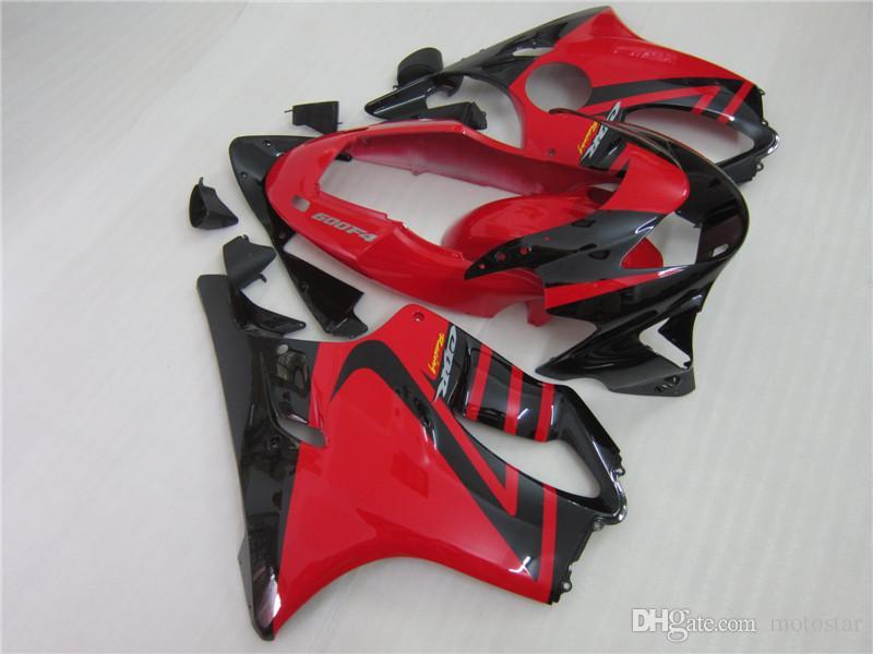 100% kit in forma di iniezione cupolino Honda CBR600 F4 1999 2000 carenature corpo aftermarket nero rossi impostato CBR 600 F4 99 00