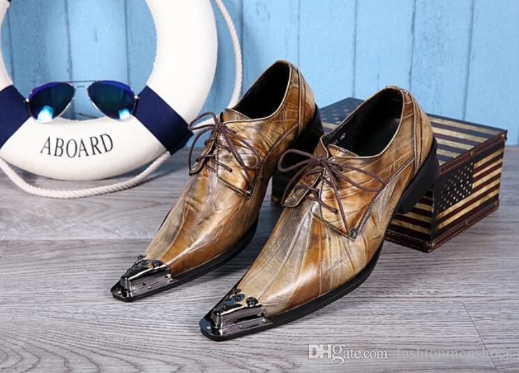 mocassini testa di ferro alla moda punta a punta scarpa da uomo lace up Inghilterra parrucchiere fase night club bar scarpe business vestito scarpa