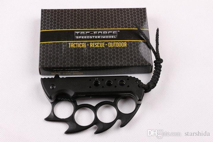 TAC FORCE TF-793 Couteau de poche en titane Knuckle Duster Tactique Camping Chasse Sauvetage EDC Dentelé 3Cr13Mov EDC Outils Collection