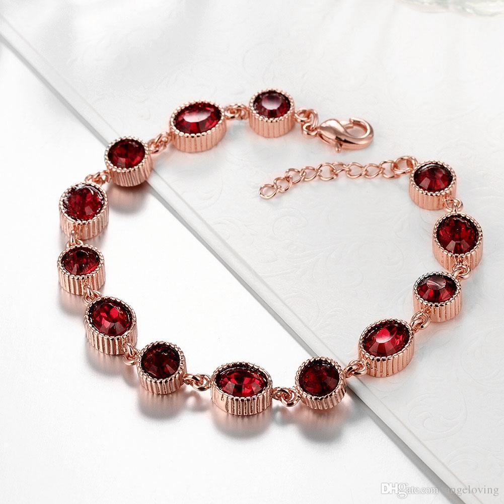 New Arrival 18K Rose Gold Plated Jewelry Fine Red Gemstone Bracelet Charm Women Bracelets Jewelry For Party