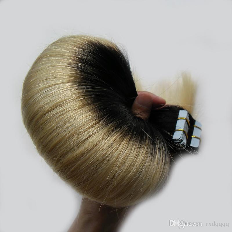 Белокурая лента в человеческих волосах бразильские расширения 100g прямой 1b / 613 кожи утка бесшовные расширения ленты Ombre человеческих волос