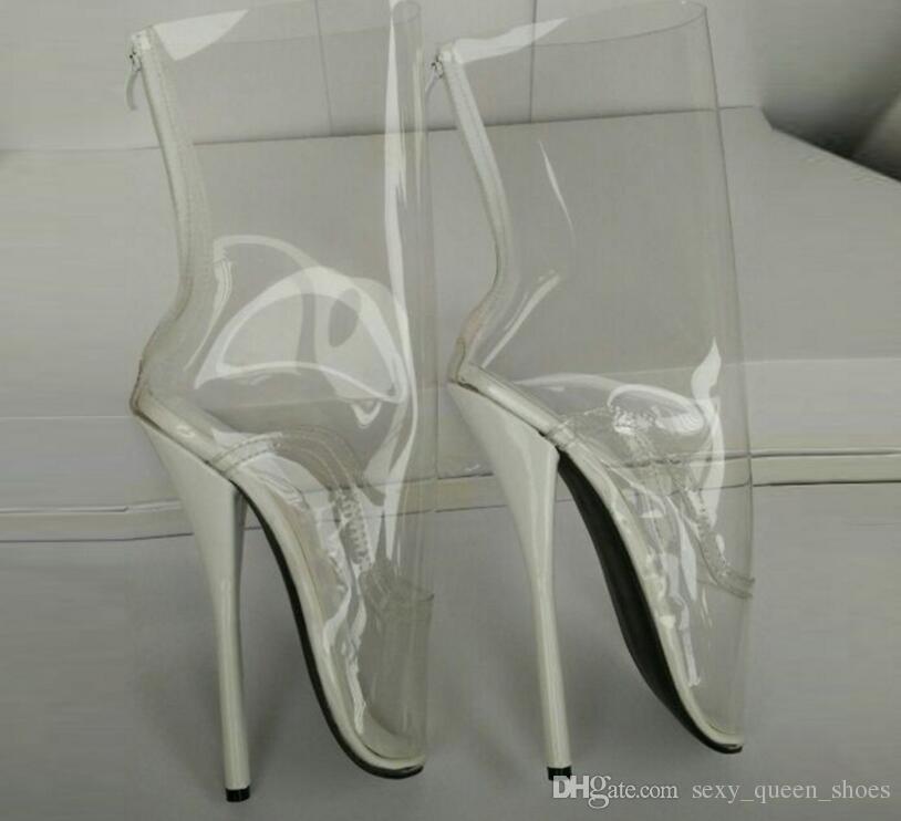 Free Extreme Heel Pvc Women Boots Transparent Clear 2017 Ballet 18cm Fetish Queen Shipping High BoerdCx