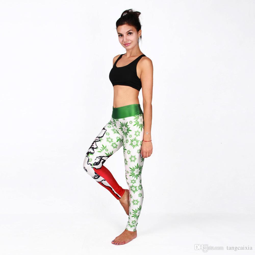 Frete grátis por atacado Nova Tendência 3d Papai Noel Sexy Mulheres Leggings Impressão Gilr Workout Natal Sexy Calças Leggins de Fitness