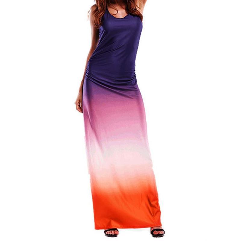 Women Summer Boho Long Maxi Evening Party Beach Sleeveless Dress ...