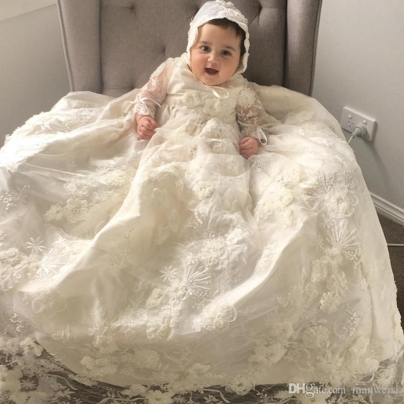 Christening Gowns From Wedding Dresses: Luxury Lace Christening Gowns For Baby Girls Long Sleeves