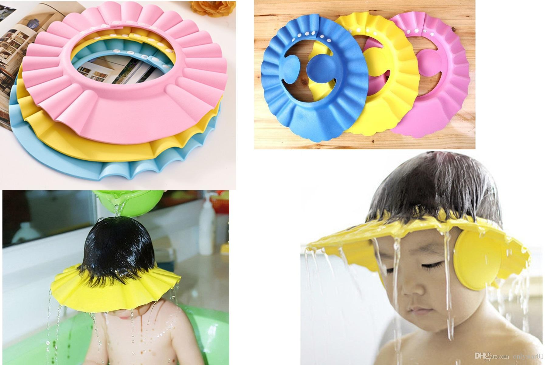 bb3691fa0dd Adjustable Baby Wash Hair Cap Shower Hat Protect Shampoo
