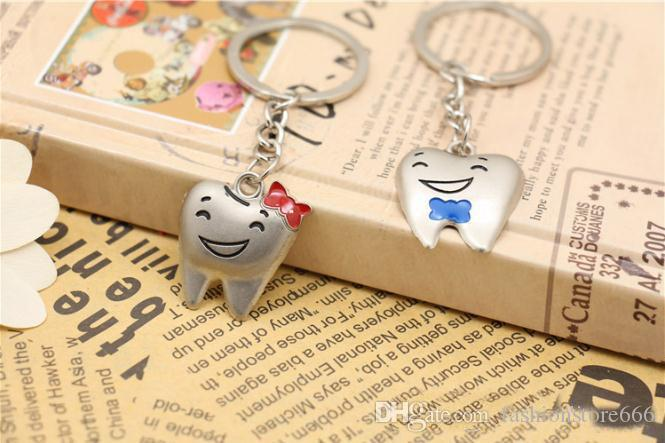 =stainless steel Cute Key Ring Keychain Tooth teeth dental Advertising Promotion gift Cheap keychains Fashion wedding Favor Gift