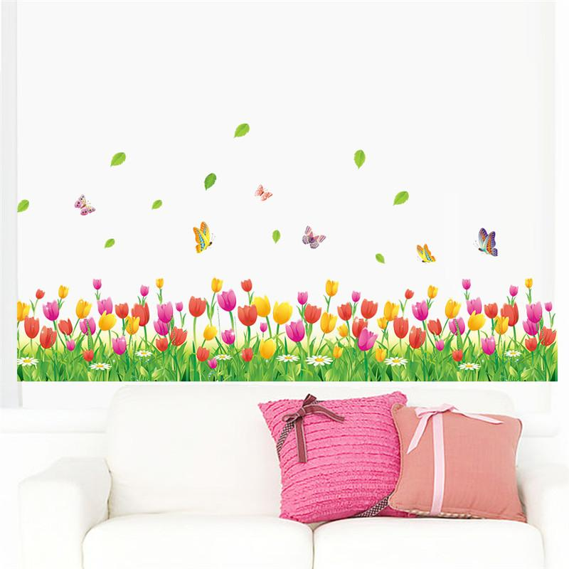 Country style tulip flower Butterfly Baseboard wall Stickers DIY Wall Decal Home decor Living Room Bedroom Window Decoration
