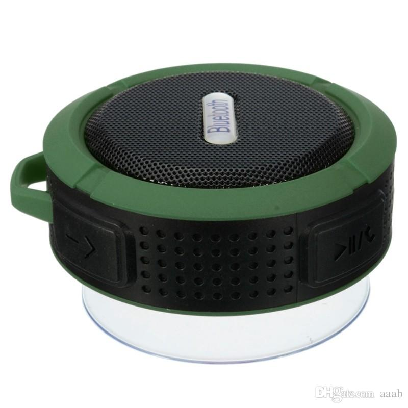 Nouveau haut-parleurs étanches bluetooth C6 Chuck étanche à la poussière Mini portable extérieur / haut-parleur de douche avec haut-parleur 5W / ventouse 5 couleurs