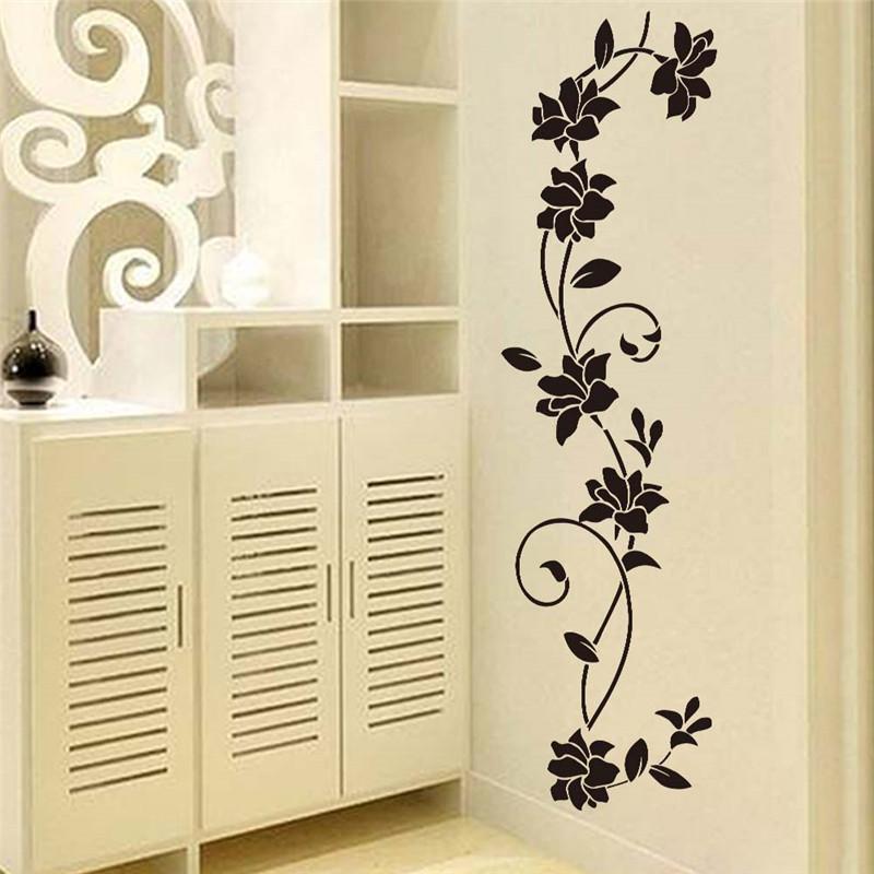 Wholesale Black Flower Vine Wall Stickers Refrigerator Window ...