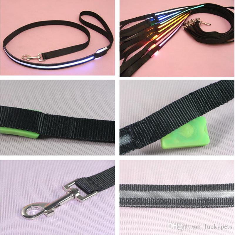 Shipping Free Pet Dog Puppy Cat Kitten Soft Glossy Reflective Led Leash Safety Leashes Buckle Pet Supplies Products Colorful 1217
