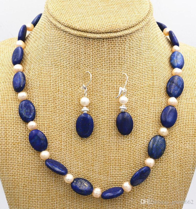 9c9e1fb5b92e Compre ENVÍO GRATISPequeño De Agua Dulce Blanco Perla Azul Lapislázuli  Collar De Plata Pendientes A  19.08 Del Jewes662