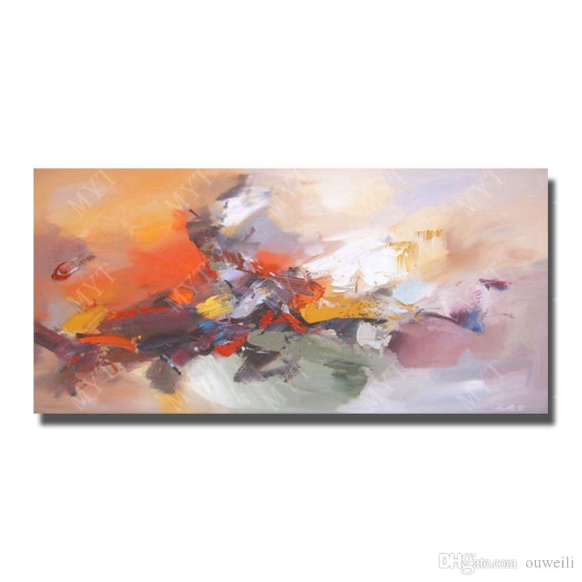 home goods decor hand painted long large size rectangular abstract oil painting for bedroom