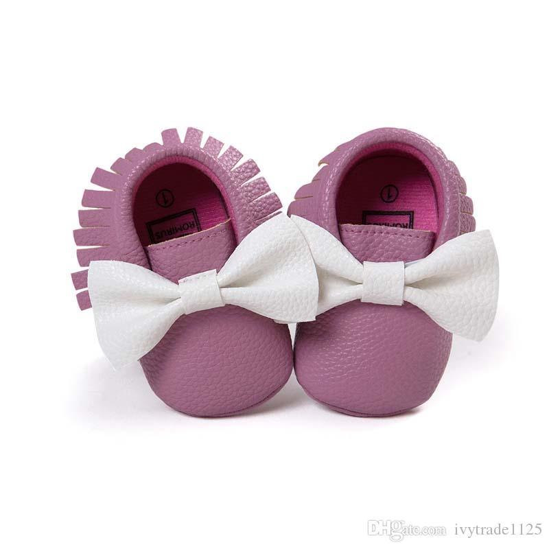 9 cores recém-chegados sola macia PU de couro primeiro bebê walker shoes bigode impressão recém-nascidos sapatos maccasions princesa bowknot borla sapatos