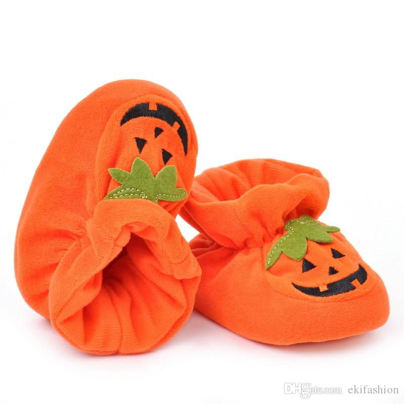 new arrival newborn baby halloween pumpkin shoes baby slippers orange color baby first walkers elastic baby shoes bs0002 from ekifashion
