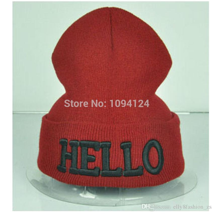 574b5f88879 High Elastic Winter Beanies HELLO Letter 3D Embrodiery Hats Warm Hip ...