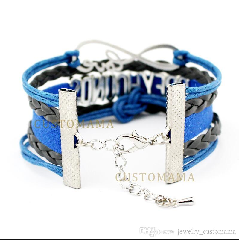 Custom-2017 Hot Infinity Love Dispatcher 911 Double Heart Charm Bracelet Wax Cords Wrap Braided Leather Adjustable Bracelet-Drop Shipping