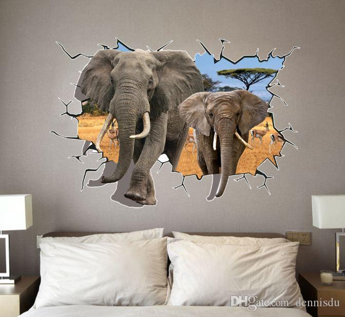 : 70*100cm 3D DIY Cartoon PVC Wall Decal/Adhesive and removable Elephant Wall Stickers wallpaper Mural Art Home Decor Accessory