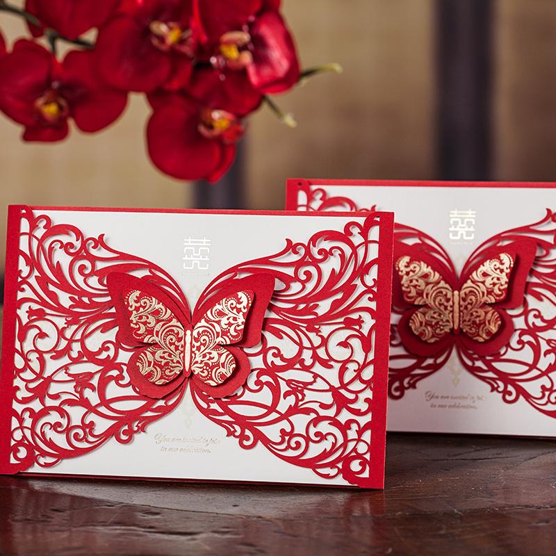 Wholesale Laser Cut Invitation CardsChinese Red 3d Butterfly