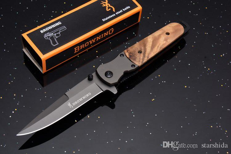2018 Browning 5238 Flipper Tactical Folding Knife Titanium Wood Handle 7Cr17Mov Clip Camping Hunting Survival Pocket Knife EDC Tools