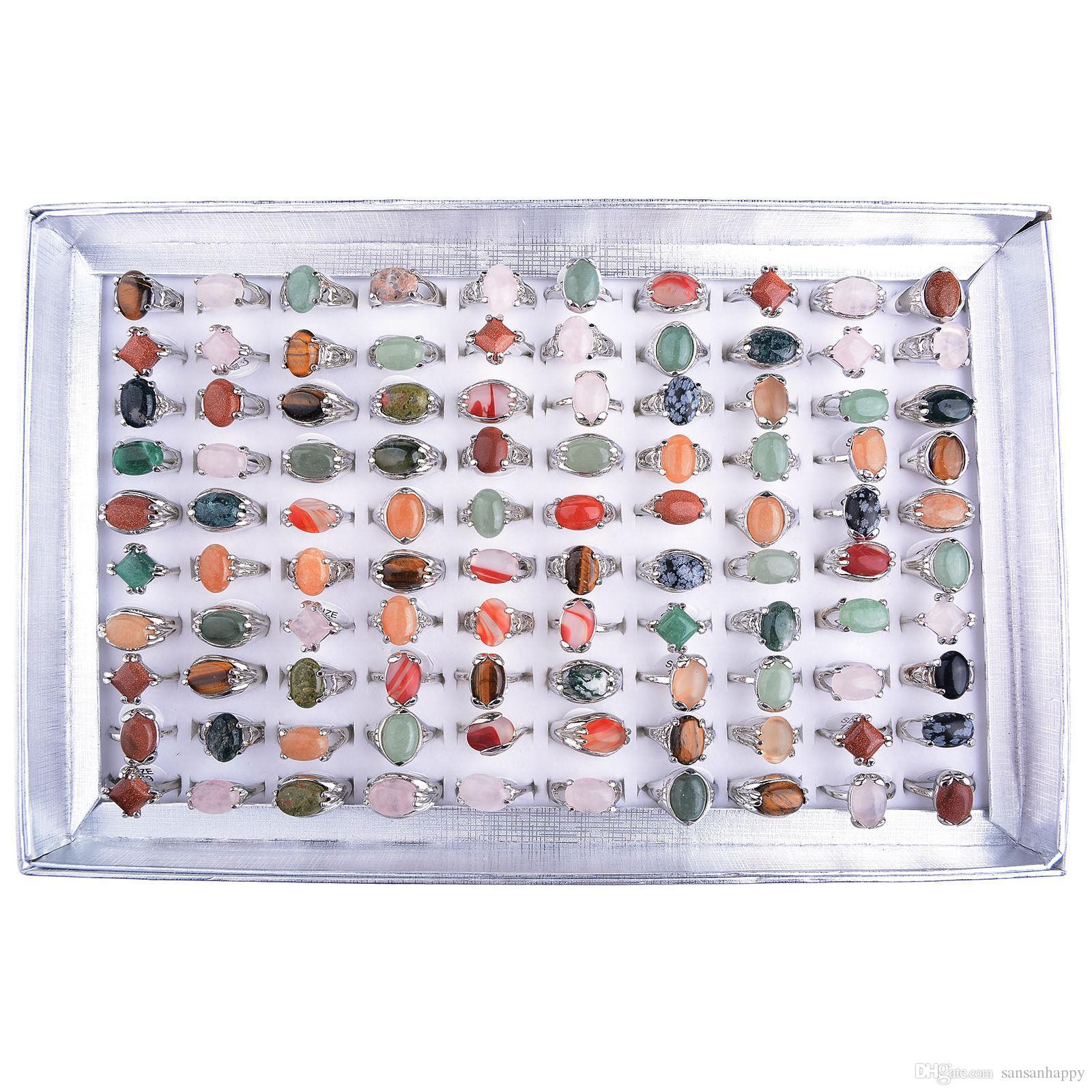 Hurtownie 100 sztuk Różne Naturalne Unisex Stone Top Rings Rozmiar 16-20 w tym wyświetlacza