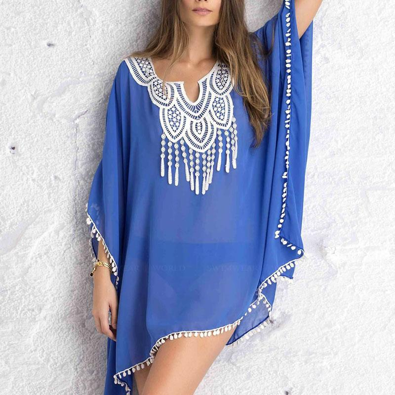 ac24f3b4d90d3 2019 Sexy Women Kaftan Sarong Blouses Bathing Suit Beach Cover Ups Bikinis  Swimsuit Cover Up Beach Tunic Dress Lace Chiffon Pareo From Htzyhstore, ...
